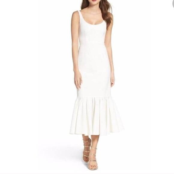 55436b57b Jill Stuart Dresses   Solid Fitted Ruffle Hem Dress In White   Poshmark